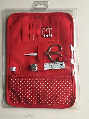 S&W Soft Sewing Roll Case Inc Scissors Ruler Pins - Haby Days Red Cream 146WB