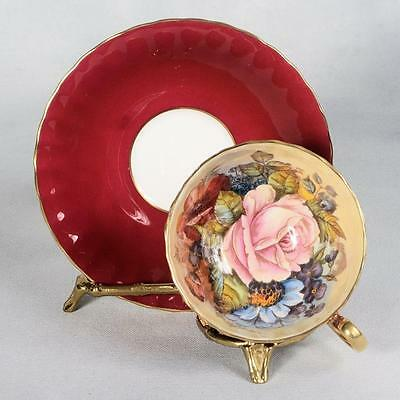 Signed Aynsley Teacup & Saucer -Red/floral Interior Trimmed With Gold