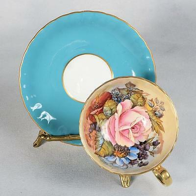 Signed Aynsley Cup & Saucer - Robin Egg Blue/floral Interior Trimmed With Gold