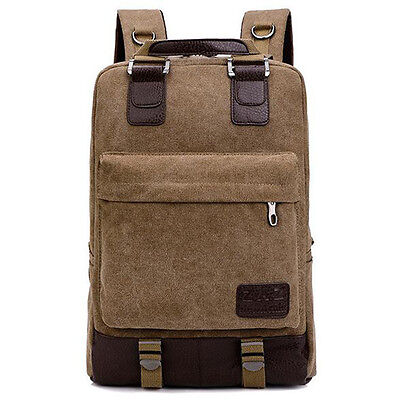 Vintage Men's Canvas Leather Hiking Travel Military Backpack Satchel Loptap Bag