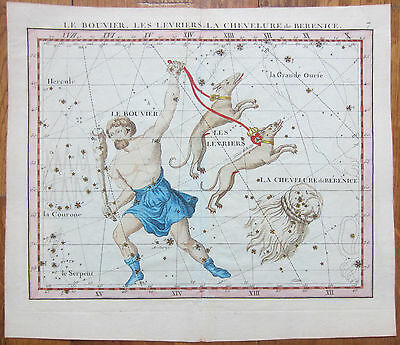 Flamsteed Original Handcolored Celestial Map Berenice's Hair Astronomy - 1790