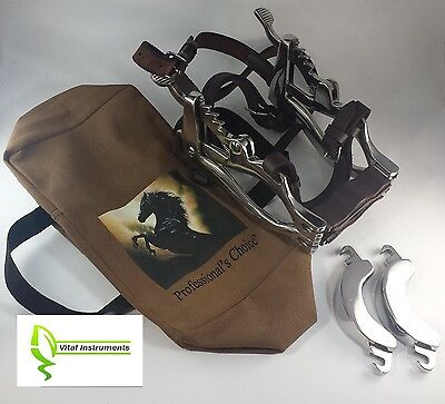 Equine Dental Speculum Horse Mouth Gag Stainless Steel Leather McPherson + Case