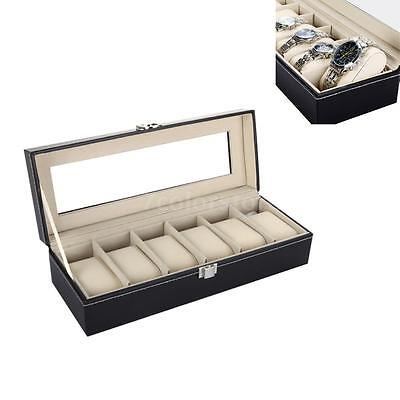UK 6 Watch Box Mens Black Leather Display Glass Top Jewelry Case Organizer Y6H0