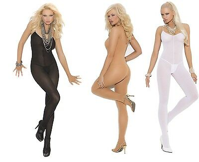 Elegant Moments Opaque Open Crotch Bodystocking W/Spagetti Straps 6-20