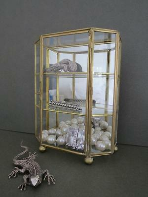 Vintage Table Top Glass Display Cabinet Wall Jewellery Curio Box