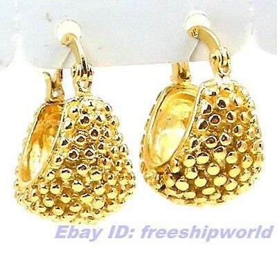"""3pair Wholesale 0.7"""" REAL UNIQUE 18K YELLOW GOLD GP DANGLE HOPPET EARRING SOLID"""