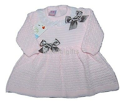 Girls Pink Spanish Lace & Satin Bow Knitted Dress 0-3 & 6-12 Month
