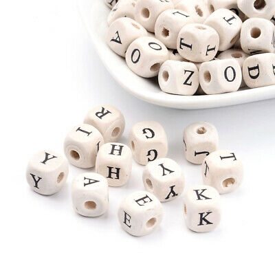 100PCS Wood Beads Cube with Letter 10mm long 10mm thick hole 3mm DIY Crafting