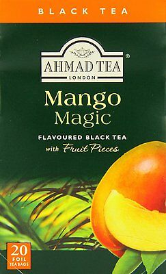 New !  20 Foil Tea bags Ahmad Tea Mango Magic Black Tea with Fruit Pieces