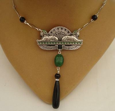 Stunning Egyptian Revival Art Deco Statement Scarab Necklace   Bridal