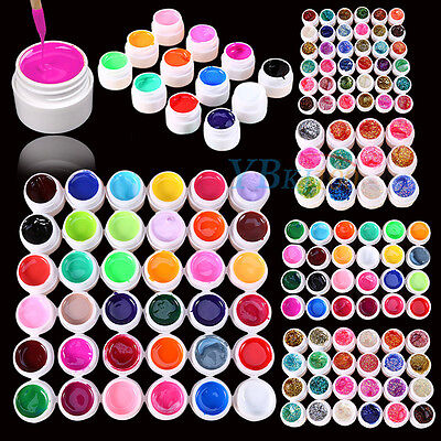 3/12/24/36 Mix Color Solid Pure Glitter Gel Acrylic UV Builder Nail Art Sets New