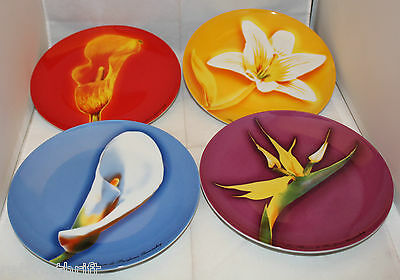 "Givenchy Paris Parfums  Collectible Plates Dishes Flowers 21cm 8.25"" Set of 4"
