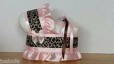 Cheetah Pink Brown Diaper Bassinet Carriage Baby Shower Table Decoration New