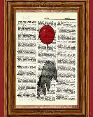 Eeyore Winnie the Pooh Dictionary Art Print Picture Poster Red Balloon Nursery
