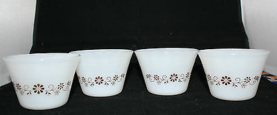 Set of 4 Vintage Dynaware Pyr-o-rey Milk Glass Small Cups Brown Flowers
