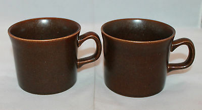 Wedgwood Sterling Brown Set of 2 Coffee Tea  Mug Cups Made in England Oven Stove