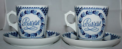 HUTSCHENREUTHER 2 Blue Coffee / Tea Cups with Saucers 1814 Germany  Very Rare