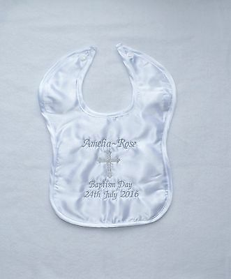 *Personalised* CHRISTENING / BAPTISM BABY SATIN BIB embroidered - gold or silver