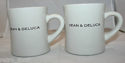 New Set of 2 Dean and Deluca Heavy Ivory White Coffee Tea Mug Cups Original Tag