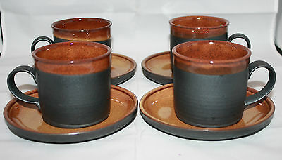 Set of 4 Japan Tokoname Yaki Modern Coffee Tea Mug Cups Saucers Black Brown