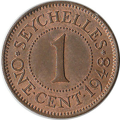 1948 Seychelles (British) 1 Cent Coin KM#5 Mintage 300,000 One Year Type