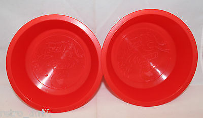 Quaker Dino Eggs Oatmeal Set of 2 Plastic Bowls Red Dinosaur Dishwasher Safe