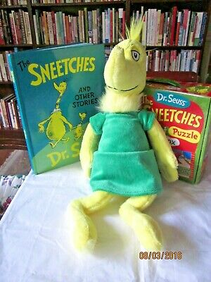 lot of Dr. Seuss Sneetch Plush Kohls Cares Yellow Green dress  & puzzle,hardback