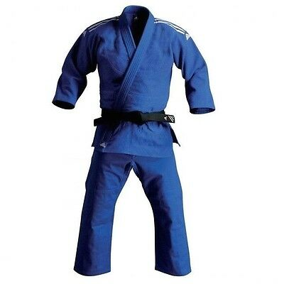 adidas Judo Student BLUE Gi Uniform Single Weave 100% Cotton Jiu Jiutsu-STRIPES