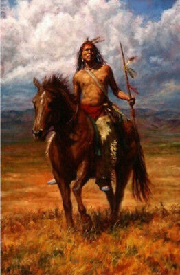 NATIVE AMERICAN HUGE WALL DECORATE CANVAS ART OIL PAINTING No Frame