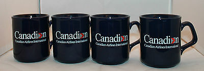 Set of 4 Canadian  Airlines International Navy Blue Logo Coffee Tea Mug Cup Rare
