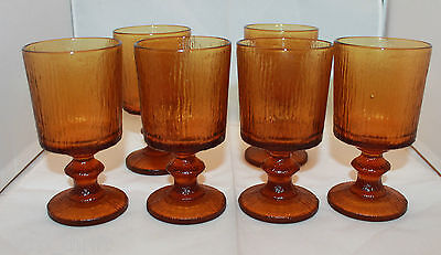 Vintage Mid Century Modern Amber Footed Drinking Glassware Goblet Set of 6 Retro