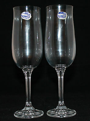 Set of 2 Bohemia Crystal Fluted Champagne Glass Made in Czech Republic