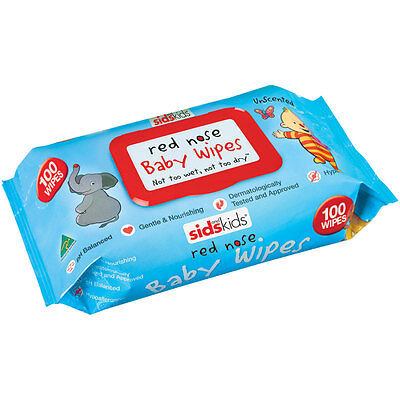 SIDS and Kids Red Nose Baby Wipes Unscented 100 Wipes