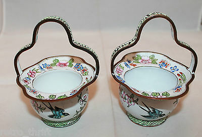 Vintage Handpainted Heavy Metal Decorative Small 2 Baskets Set  Birds Flowers