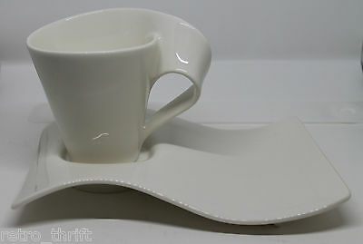 Villeroy and Boch New Wave Caffe Porcelain White Coffee Mug Cup Snack Plate Set