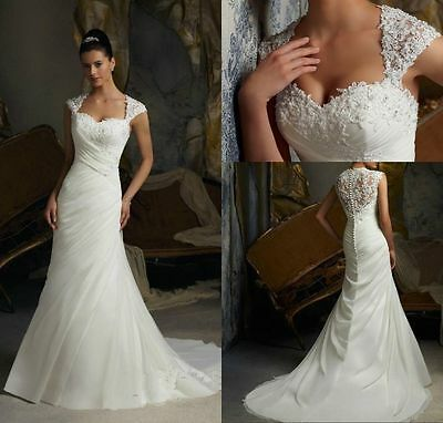 New White/ivory Lace mermaid Wedding Dress Bridal Gown stock sz: 6-8-10-12-14-16
