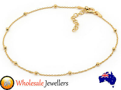 New Italian 925 Yellow Gold Plated Sterling Silver Ball Bead Chain Anklet