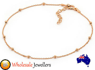 New Italian 925 Rose Gold Plated Sterling Silver Ball Bead Chain Anklet