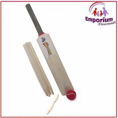 Kids Cricket Set Wooden Size 3 Bat Ball 4 Whickets Stumps Beil Sport Beach Toy
