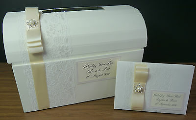 Wedding post box & guest book decorated with lace, ivory ribbon and pearl brooch