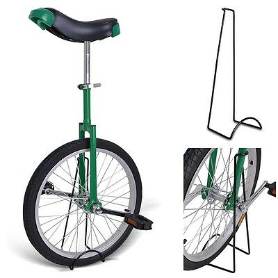 """20"""" Unicycle Chrome Plated Wheel 1.75"""" Skidproof Cycling Balance With Free Stand"""