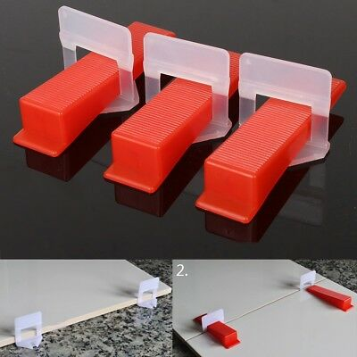 100 Tile Leveling System - 50 Clips / 50 Wedges Plastic Spacers Tiling Tools New