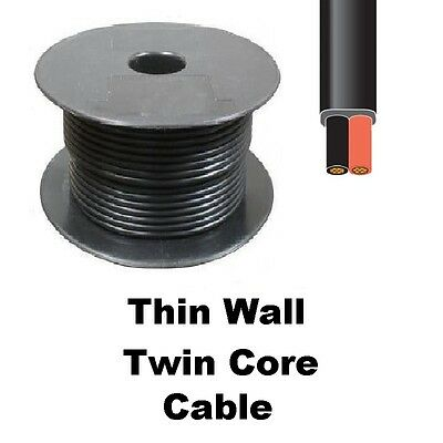 Flat Thin Wall Cable Twin Core Auto Car Van Marine Wire Wiring Loom 12v or 24v