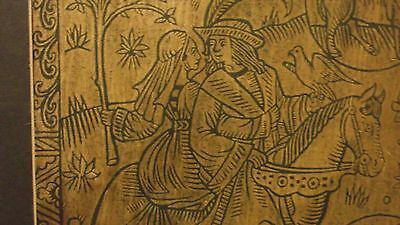 Vintage Brass Rubbings Medievel Knight and Lady Riding Horse