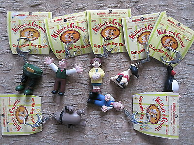 7 Old 1989 Wallace & Gromit Key Chains Irwim Toys w/ Tags