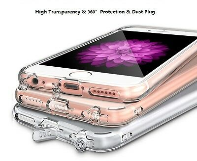For iPhone X 6 6S 6Plus 7 8 7/8Plus Case Crystal Clear Slim Gel Cover Dust Plug
