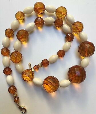 ANTIQUE ART DECO Bone &FACETED 100% NATURAL HONEY Baltic AMBER BEAD NECKLACE 老琥珀