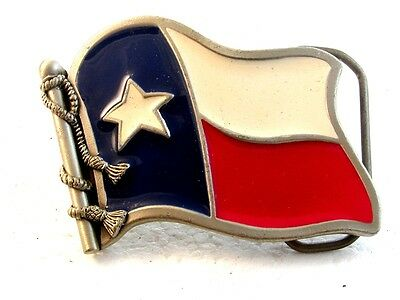 Vintage State of Texas Flag Belt Buckle By Great American Buckle Co.