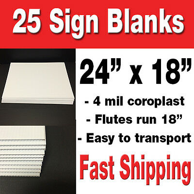 """BOX OF 25 24""""x18"""" BLANK Lawn Signs WHITE CORRUGATED YARD SIGNS/POLITICAL SIGNS"""