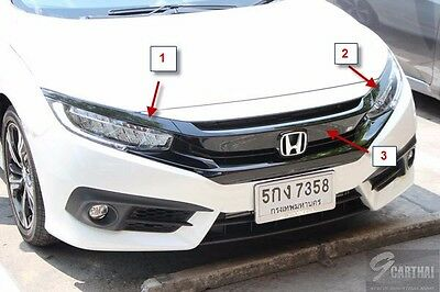 2016 Civic Genuine Black Molding Front Grille & Extension Assy RL Turbo RS 1.5